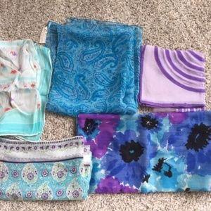 Lot of 5 Vintage Scarves -Blues